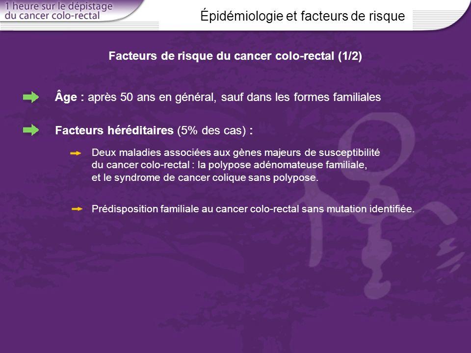 Facteurs de risque du cancer colo-rectal (1/2)