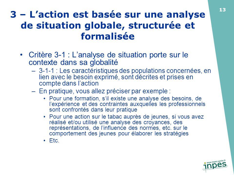 3 – L'action est basée sur une analyse de situation globale, structurée et formalisée