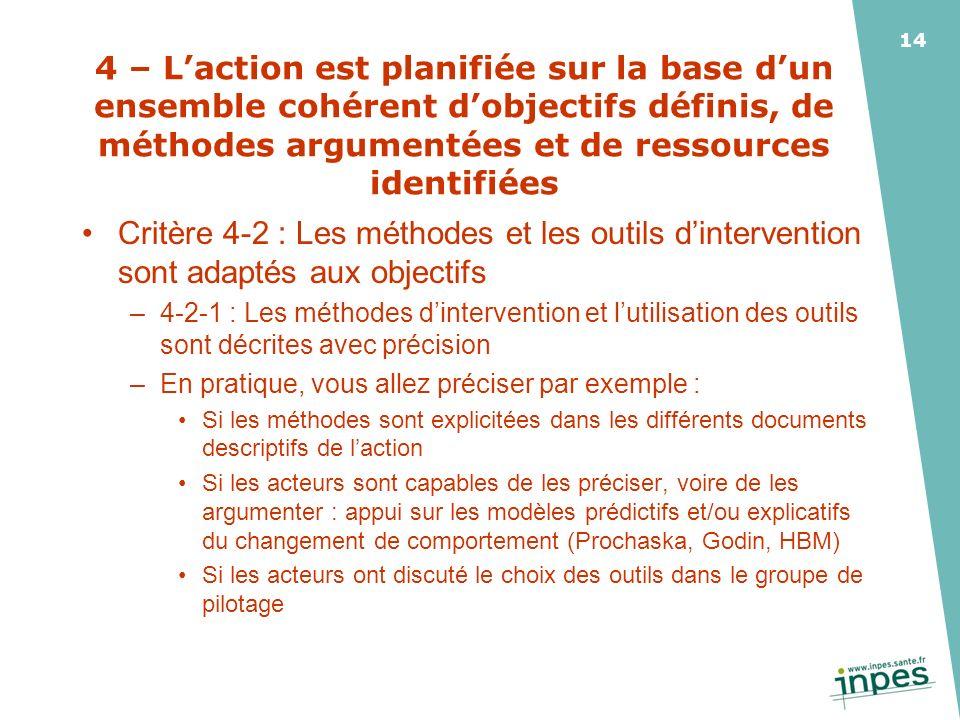 4 – L'action est planifiée sur la base d'un ensemble cohérent d'objectifs définis, de méthodes argumentées et de ressources identifiées