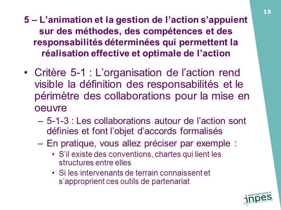 5 – L'animation et la gestion de l'action s'appuient sur des méthodes, des compétences et des responsabilités déterminées qui permettent la réalisation effective et optimale de l'action