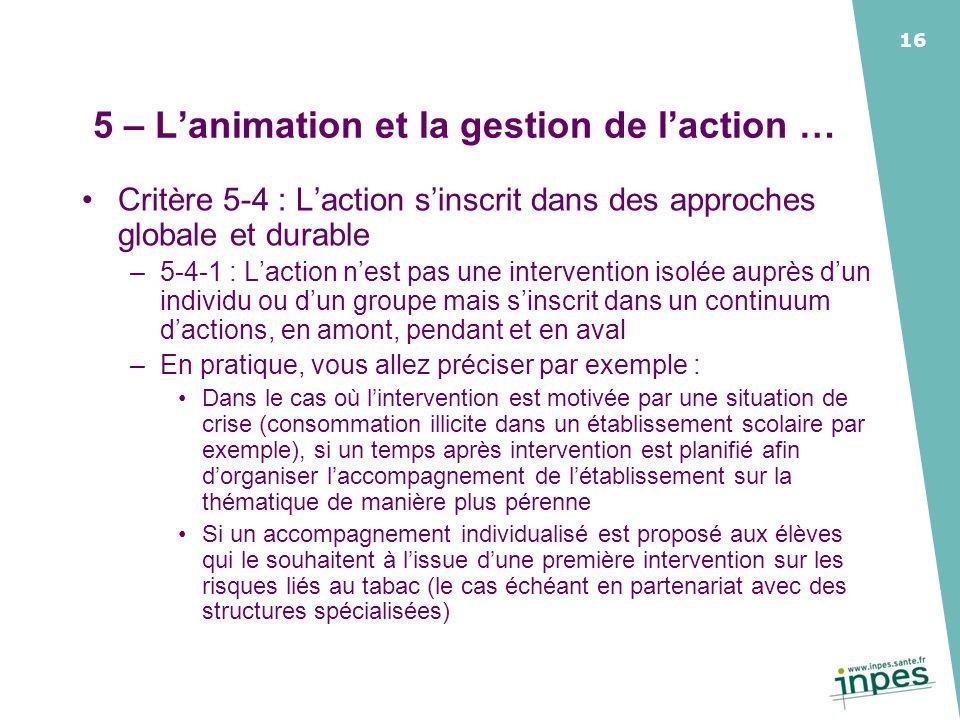 5 – L'animation et la gestion de l'action …