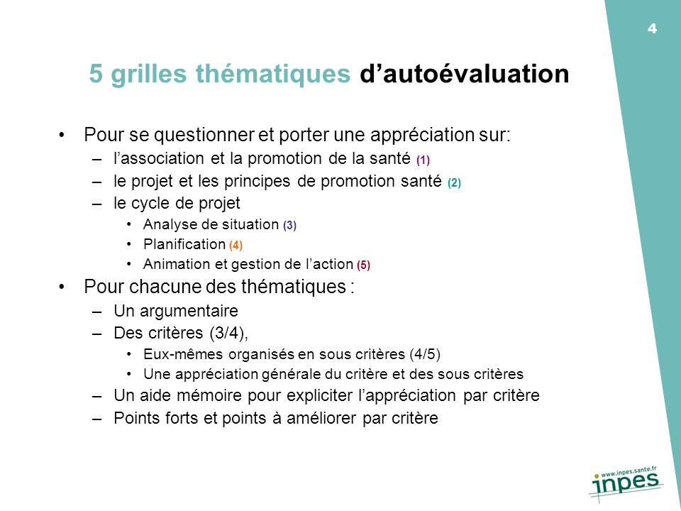 5 grilles thématiques d'autoévaluation