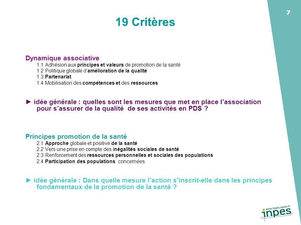19 Critères Dynamique associative
