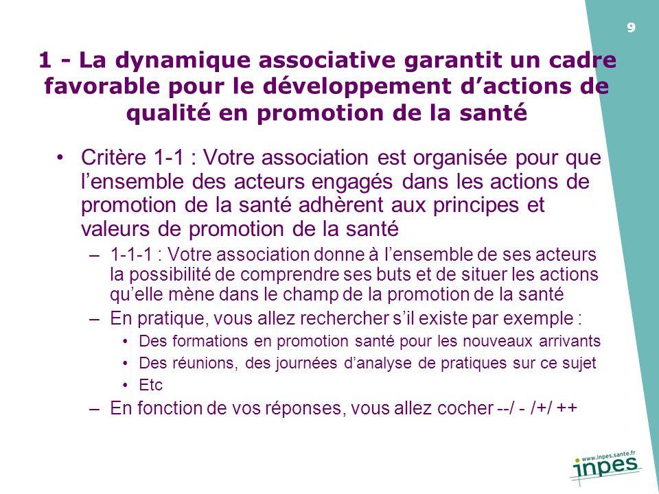 1 - La dynamique associative garantit un cadre favorable pour le développement d'actions de qualité en promotion de la santé