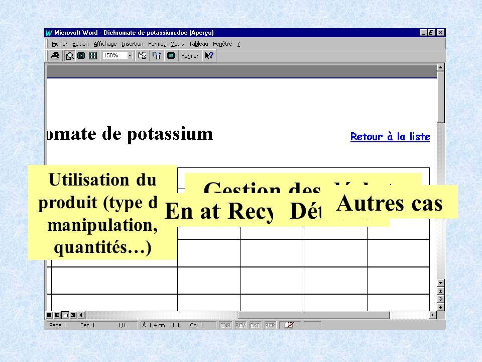 Utilisation du produit (type de manipulation, quantités…)