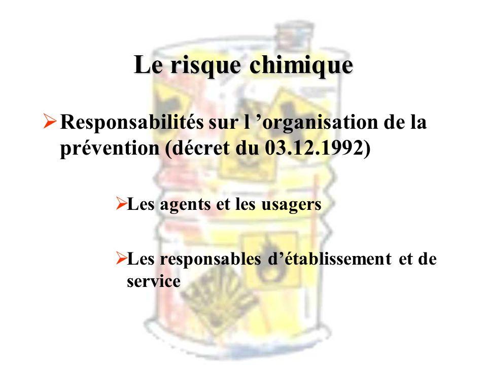 Le risque chimique Responsabilités sur l 'organisation de la prévention (décret du 03.12.1992) Les agents et les usagers.