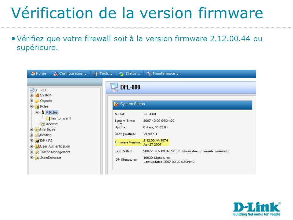 Vérification de la version firmware