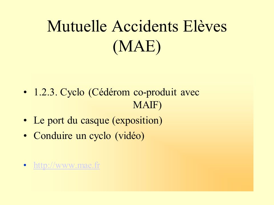 Mutuelle Accidents Elèves (MAE)