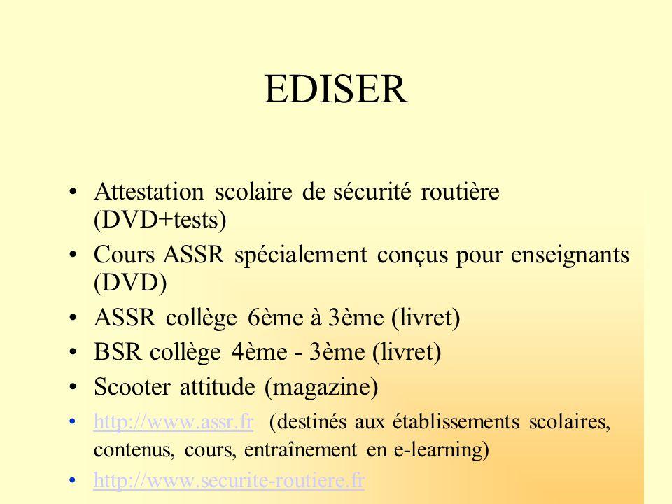 EDISER Attestation scolaire de sécurité routière (DVD+tests)
