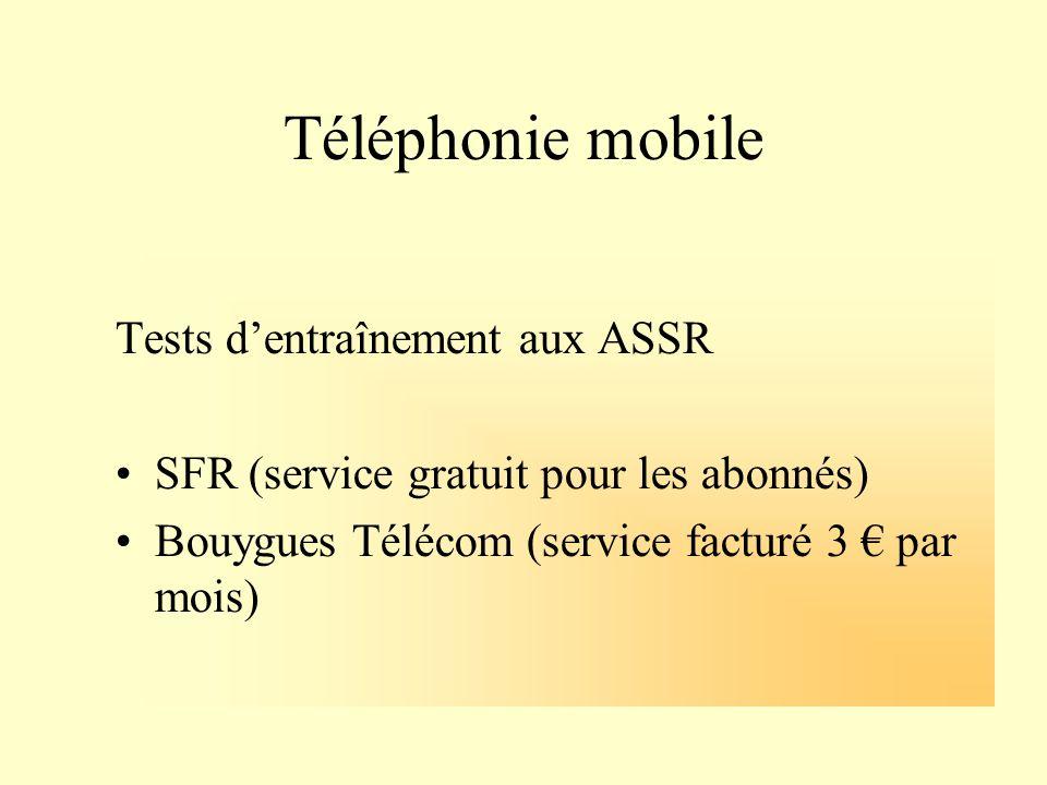 Téléphonie mobile Tests d'entraînement aux ASSR
