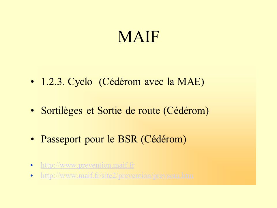 MAIF 1.2.3. Cyclo (Cédérom avec la MAE)
