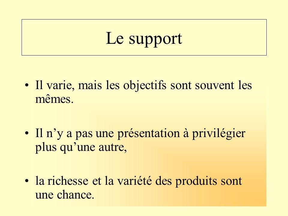 Le support Il varie, mais les objectifs sont souvent les mêmes.