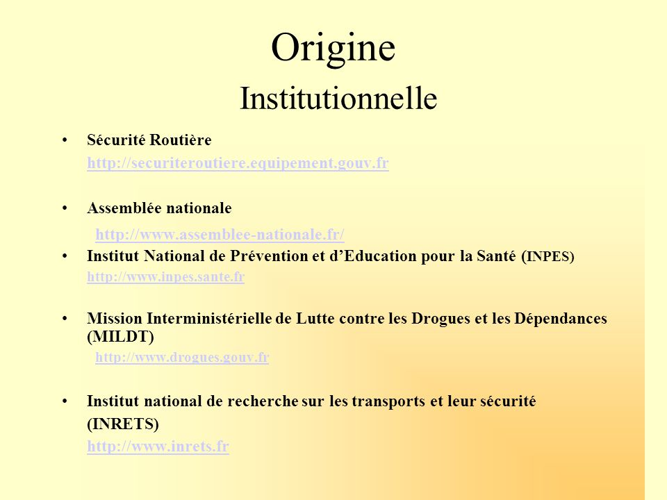 Origine Institutionnelle