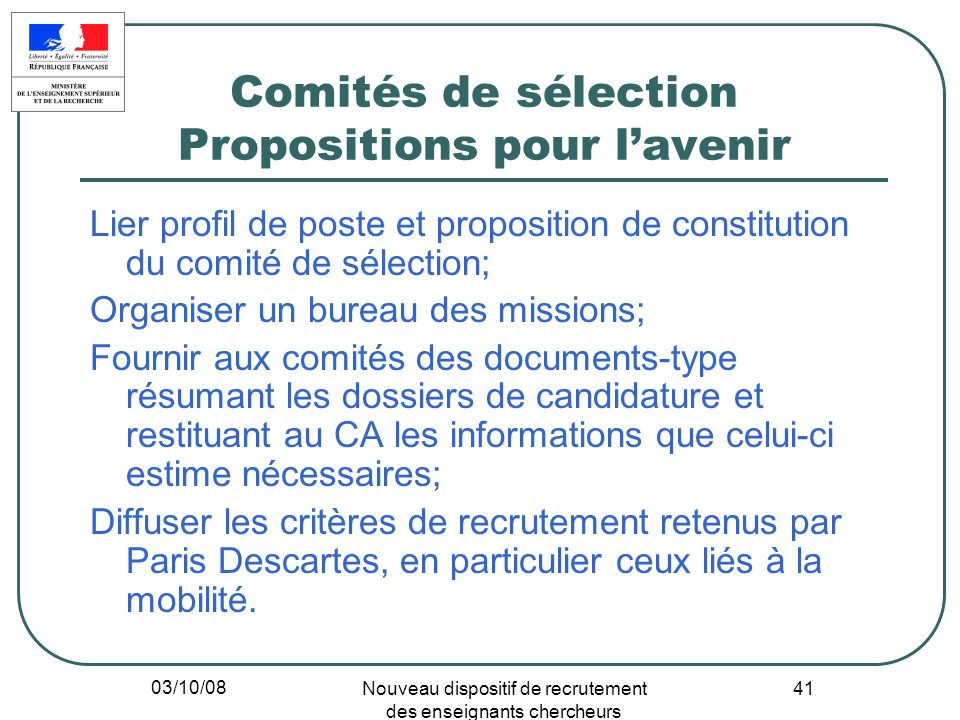 Comités de sélection Propositions pour l'avenir