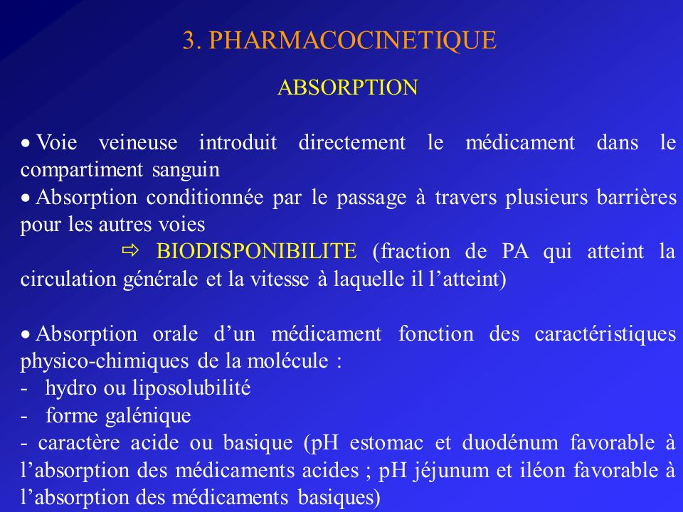 3. PHARMACOCINETIQUE ABSORPTION