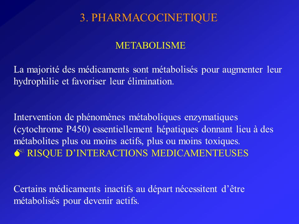 3. PHARMACOCINETIQUE METABOLISME