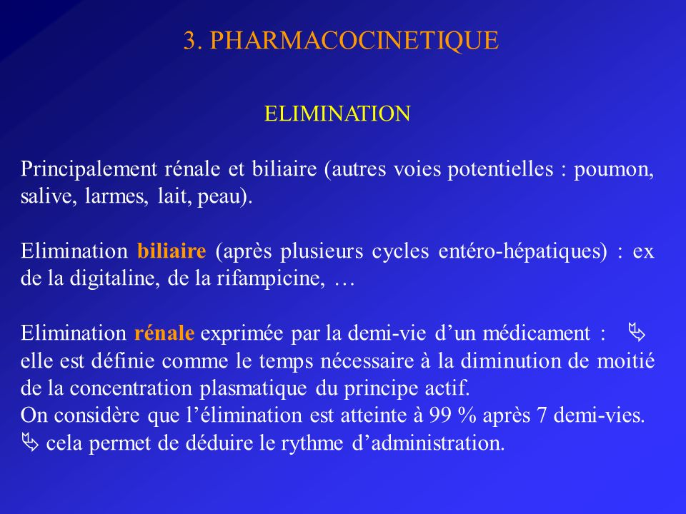 3. PHARMACOCINETIQUE ELIMINATION