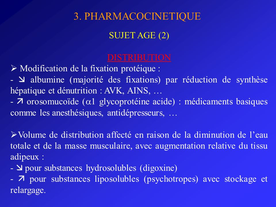 3. PHARMACOCINETIQUE SUJET AGE (2) DISTRIBUTION