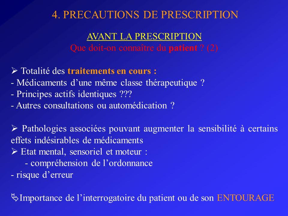 Que doit-on connaître du patient (2)