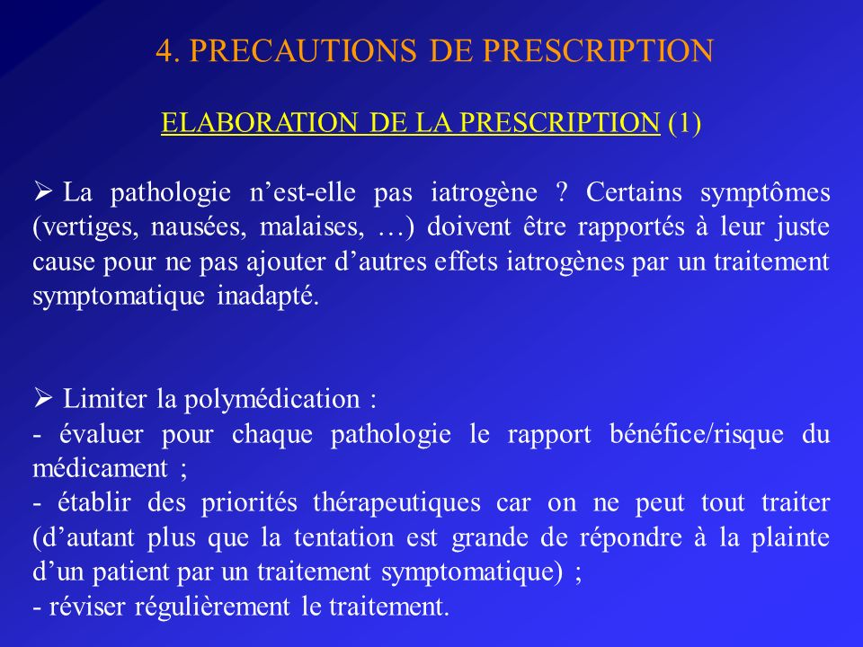 ELABORATION DE LA PRESCRIPTION (1)