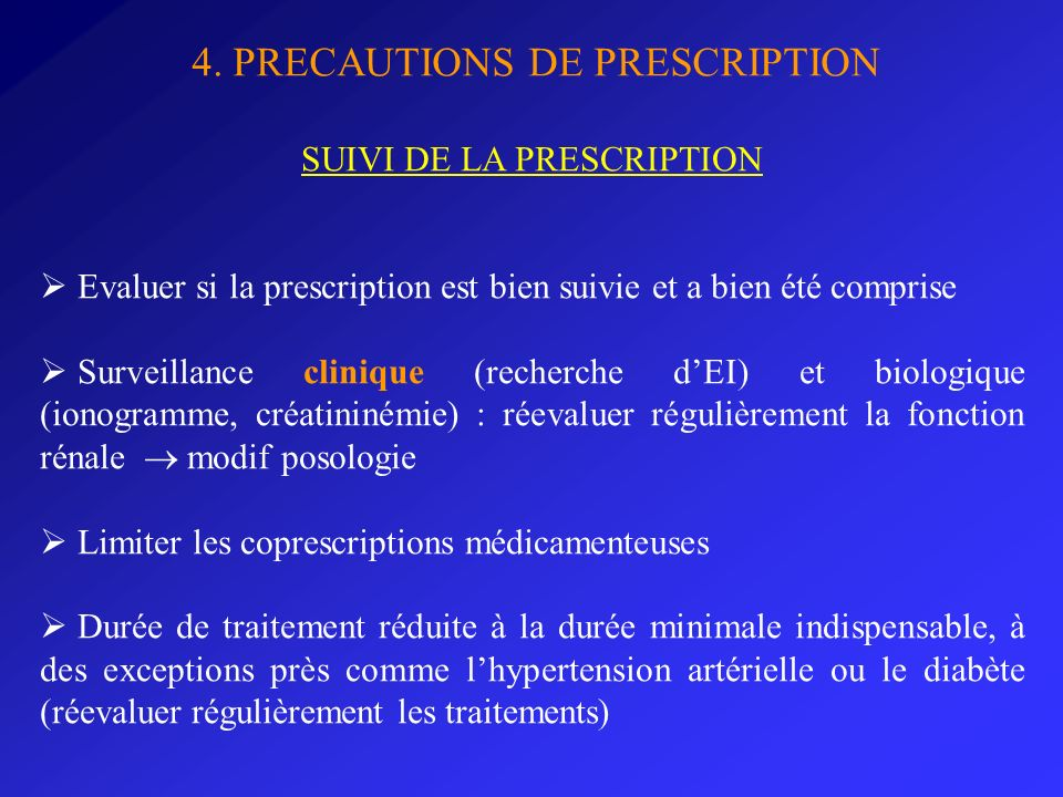 SUIVI DE LA PRESCRIPTION