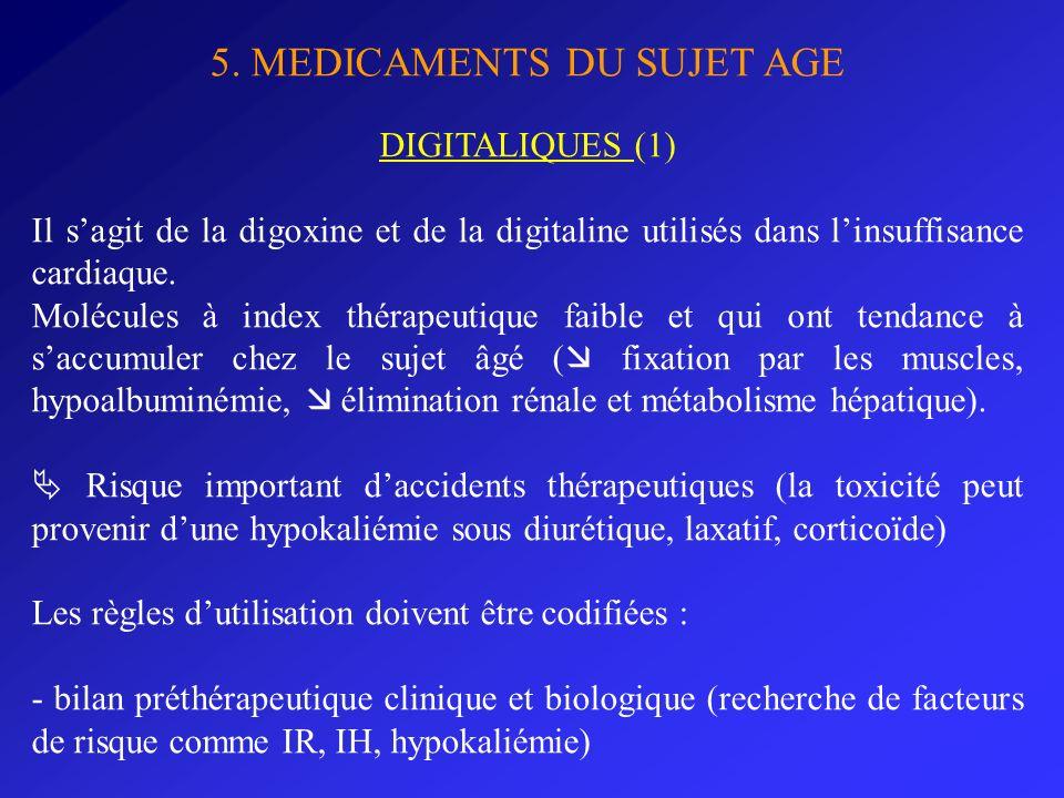 5. MEDICAMENTS DU SUJET AGE