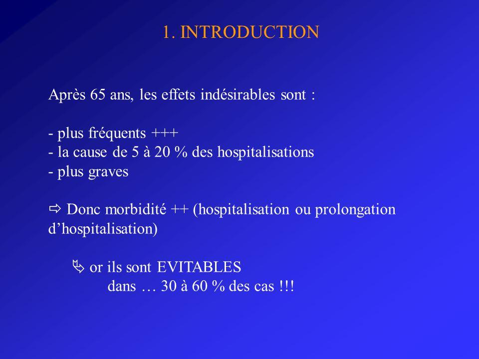 1. INTRODUCTION Après 65 ans, les effets indésirables sont :