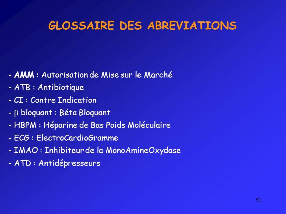GLOSSAIRE DES ABREVIATIONS