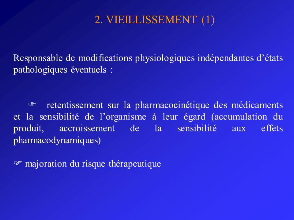 2. VIEILLISSEMENT (1) Responsable de modifications physiologiques indépendantes d'états pathologiques éventuels :