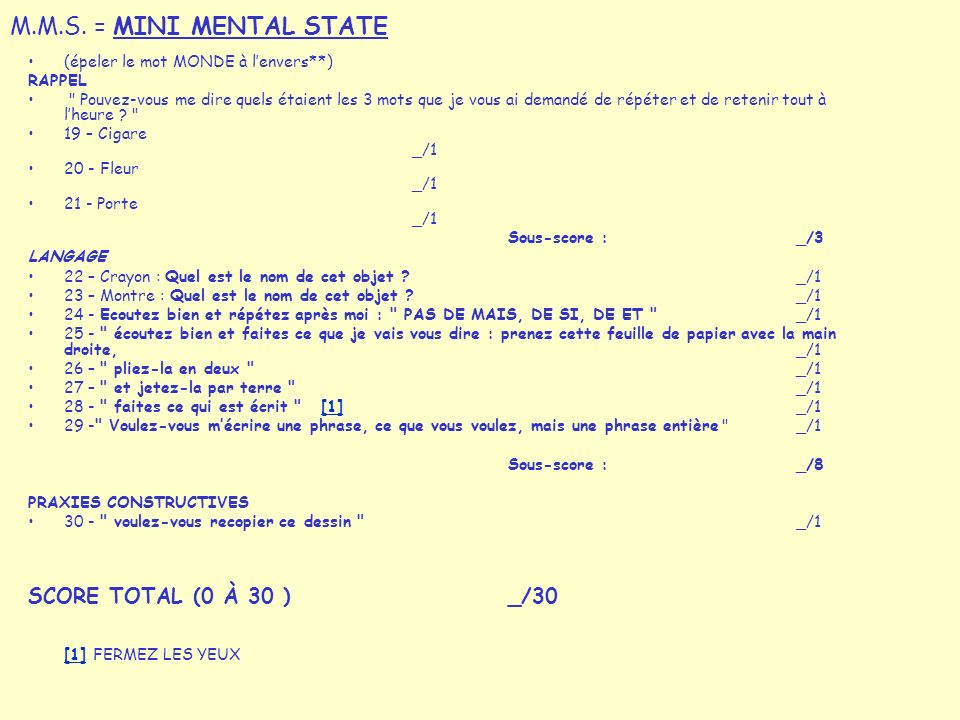 M.M.S. = MINI MENTAL STATE SCORE TOTAL (0 À 30 ) _/30