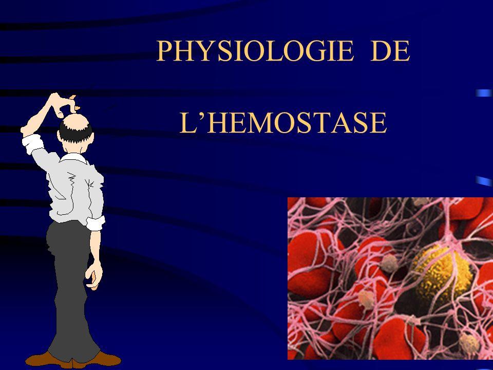 PHYSIOLOGIE DE L'HEMOSTASE