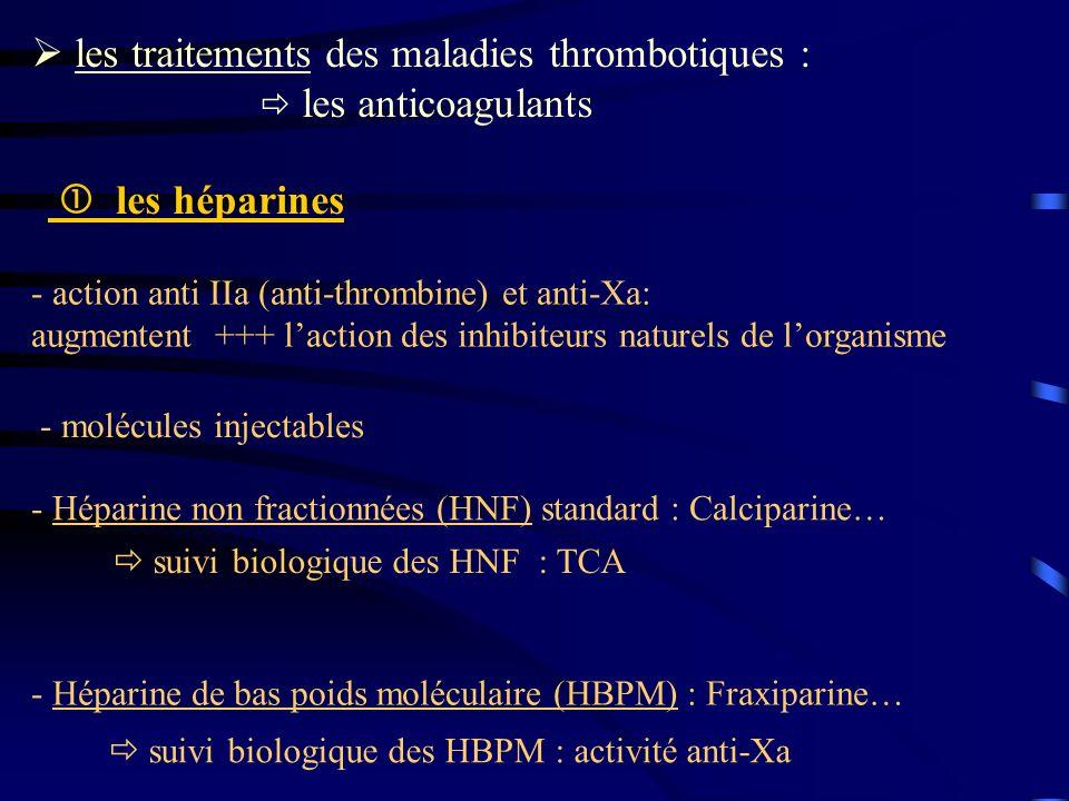  les traitements des maladies thrombotiques :