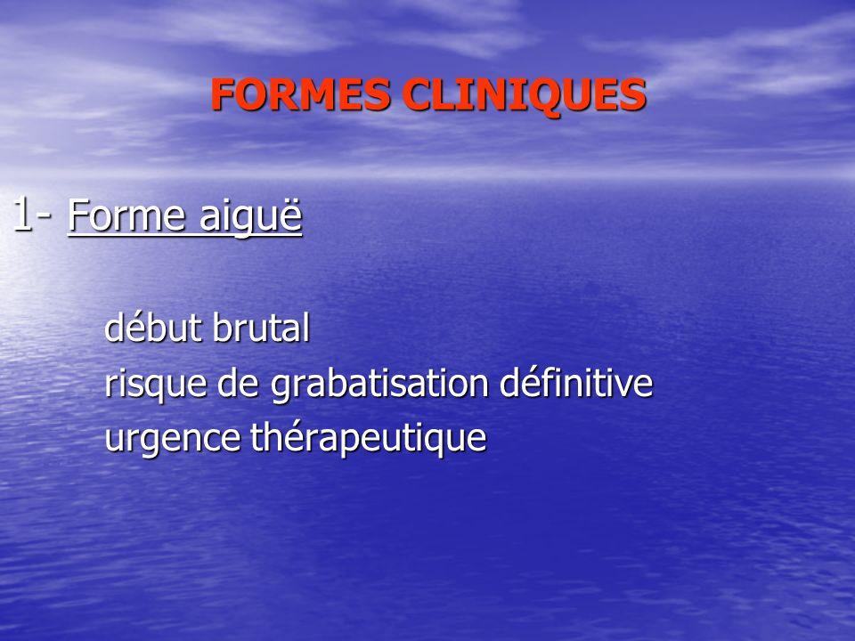 1- Forme aiguë FORMES CLINIQUES début brutal