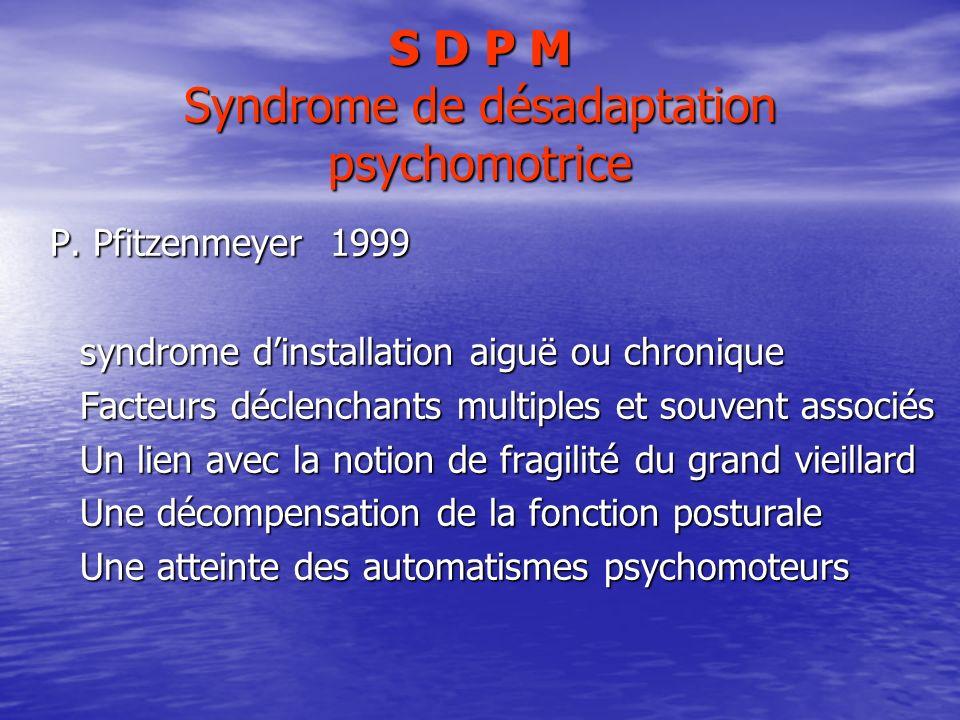 S D P M Syndrome de désadaptation psychomotrice