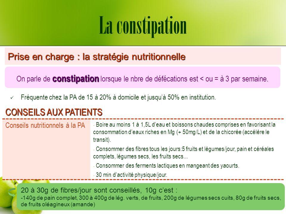 La constipation Prise en charge : la stratégie nutritionnelle