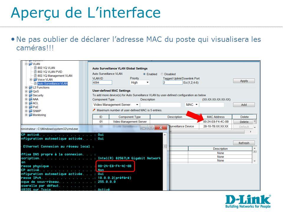 Aperçu de L'interface Ne pas oublier de déclarer l'adresse MAC du poste qui visualisera les caméras!!!