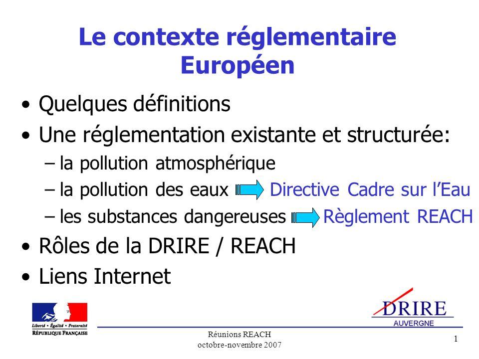 Le contexte réglementaire Européen