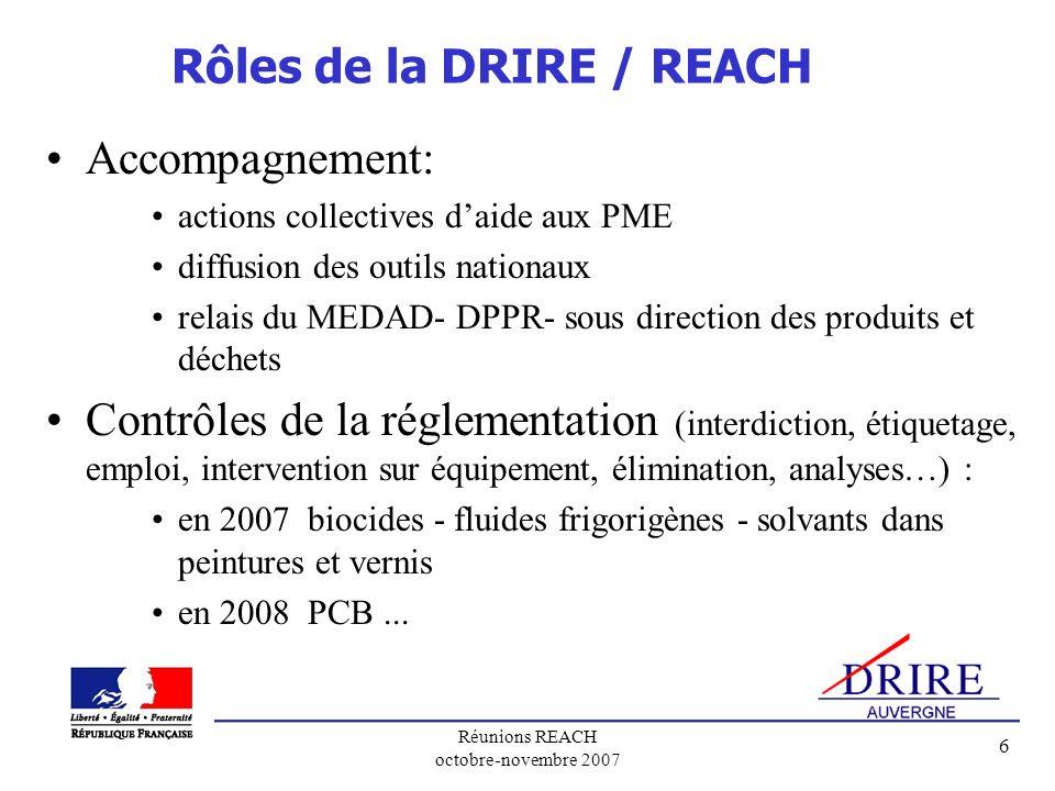 Rôles de la DRIRE / REACH