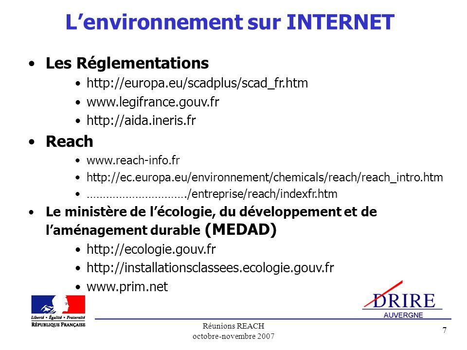 L'environnement sur INTERNET