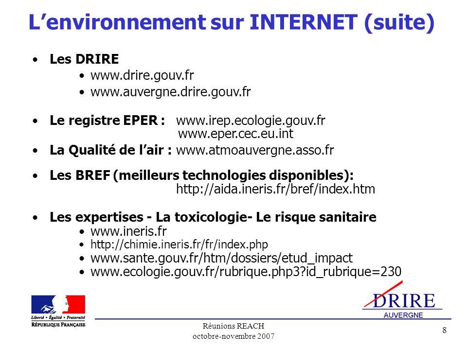 L'environnement sur INTERNET (suite)