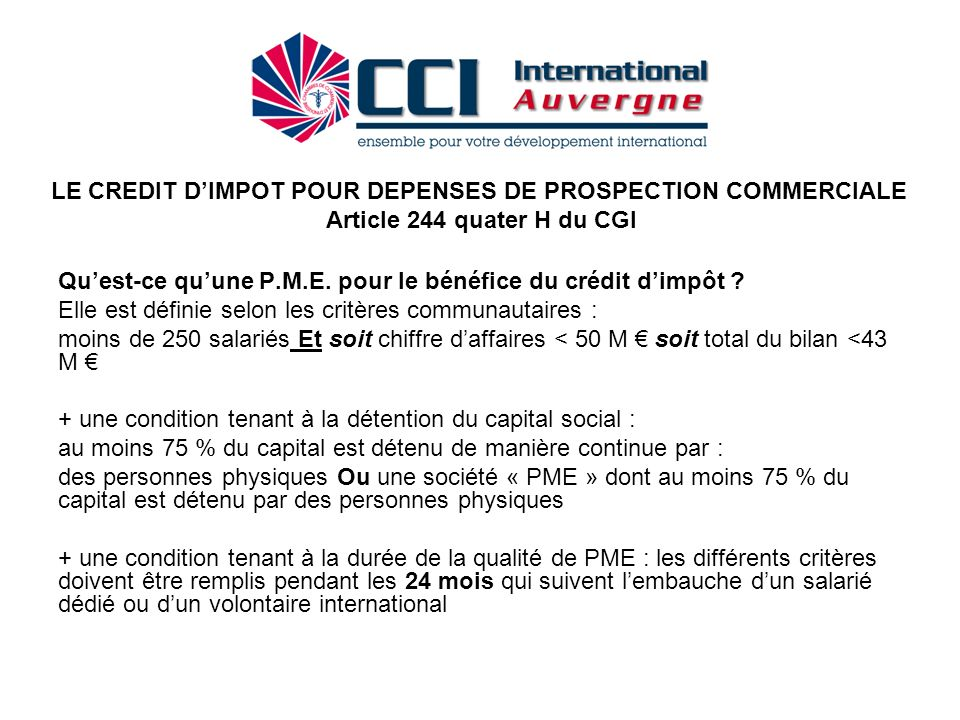 LE CREDIT D'IMPOT POUR DEPENSES DE PROSPECTION COMMERCIALE