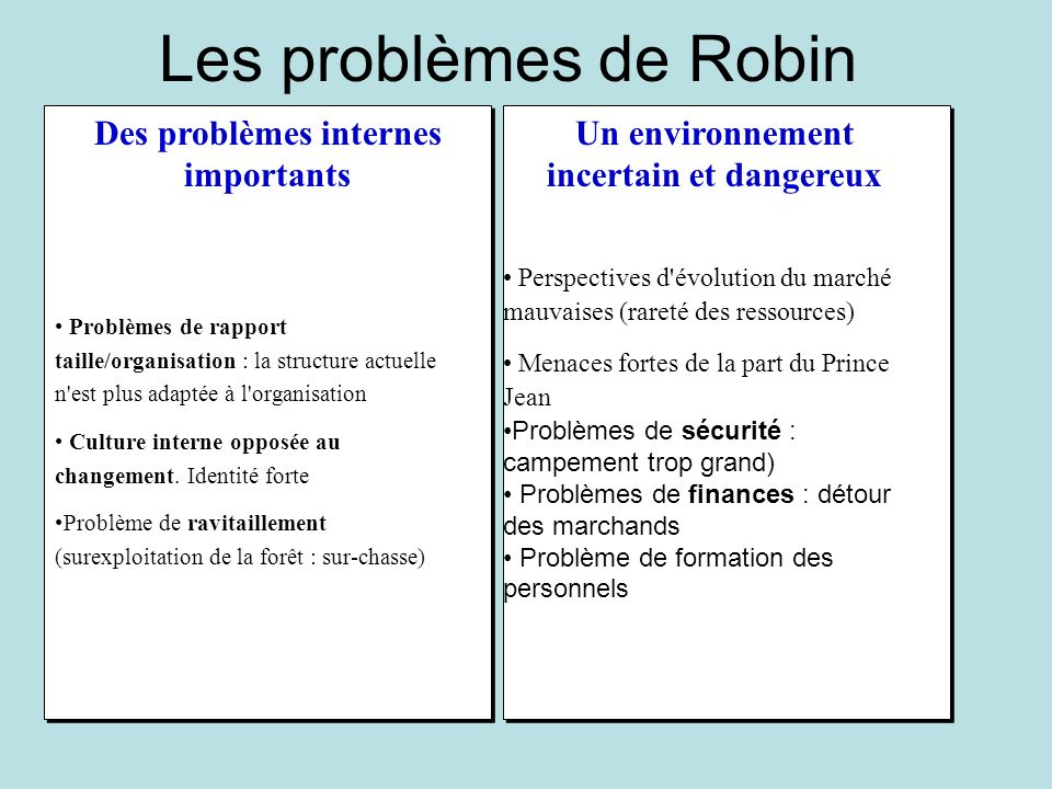 Les problèmes de Robin Des problèmes internes importants