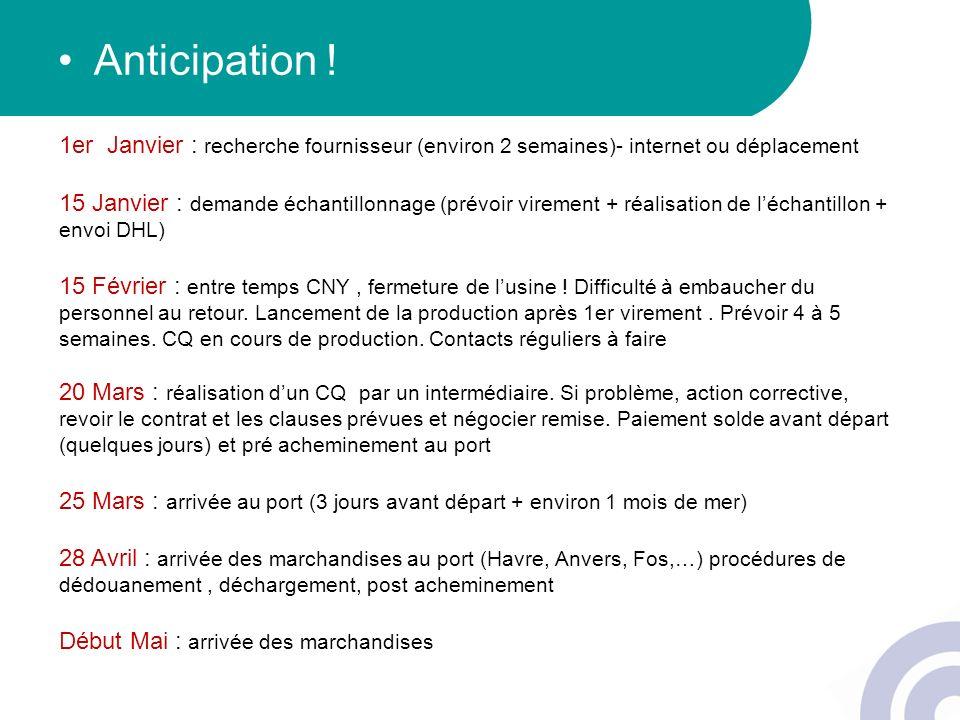 Anticipation ! 1er Janvier : recherche fournisseur (environ 2 semaines)- internet ou déplacement.
