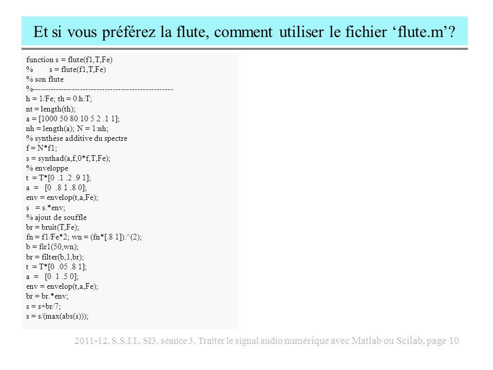 Et si vous préférez la flute, comment utiliser le fichier 'flute.m'