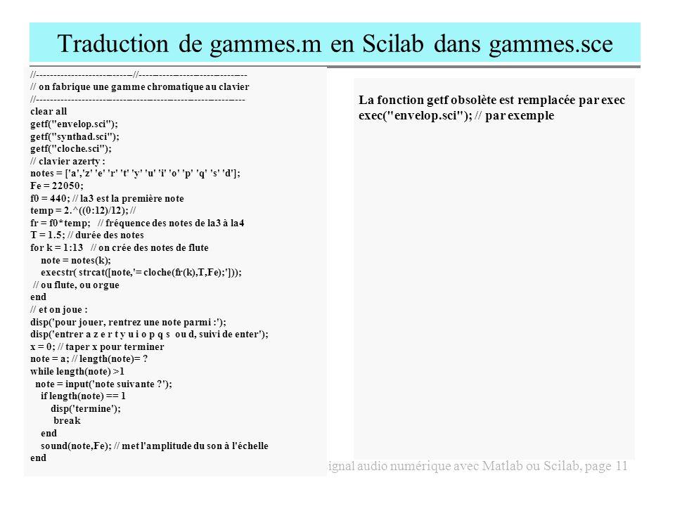 Traduction de gammes.m en Scilab dans gammes.sce