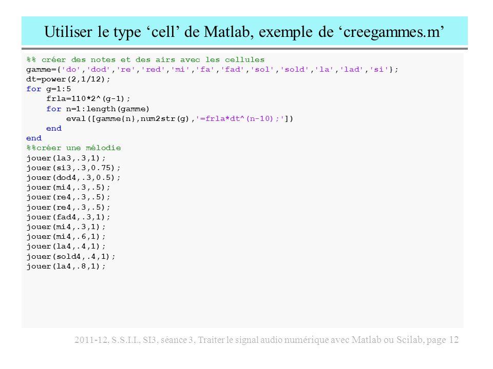 Utiliser le type 'cell' de Matlab, exemple de 'creegammes.m'