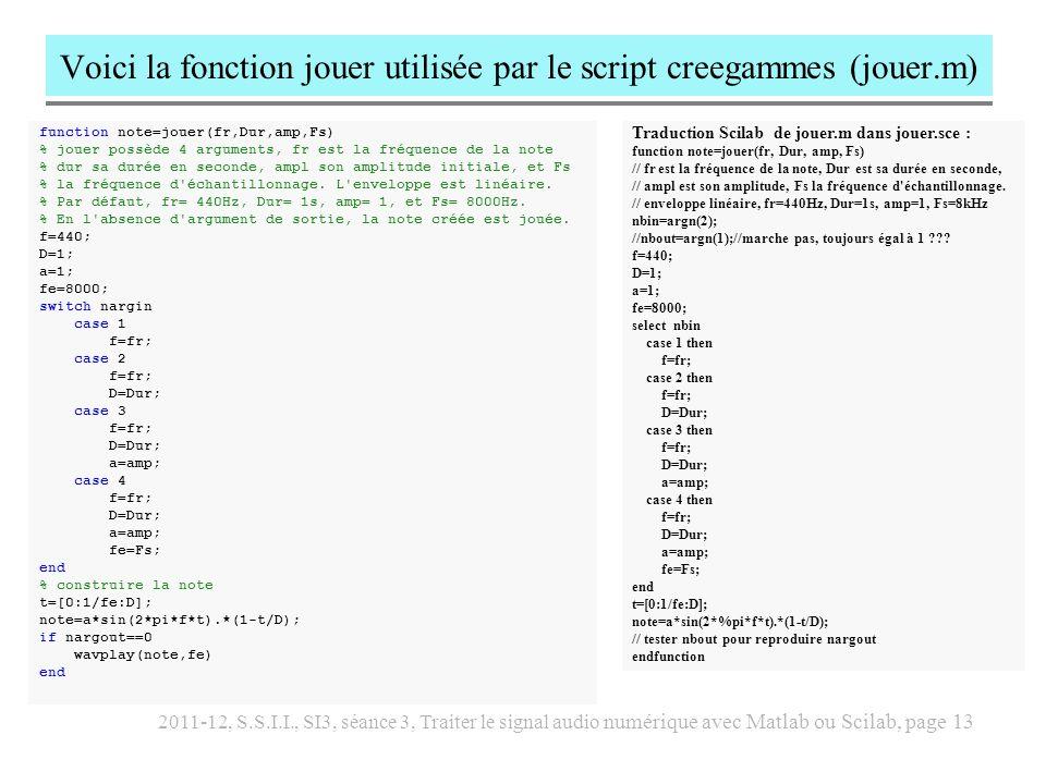 Voici la fonction jouer utilisée par le script creegammes (jouer.m)