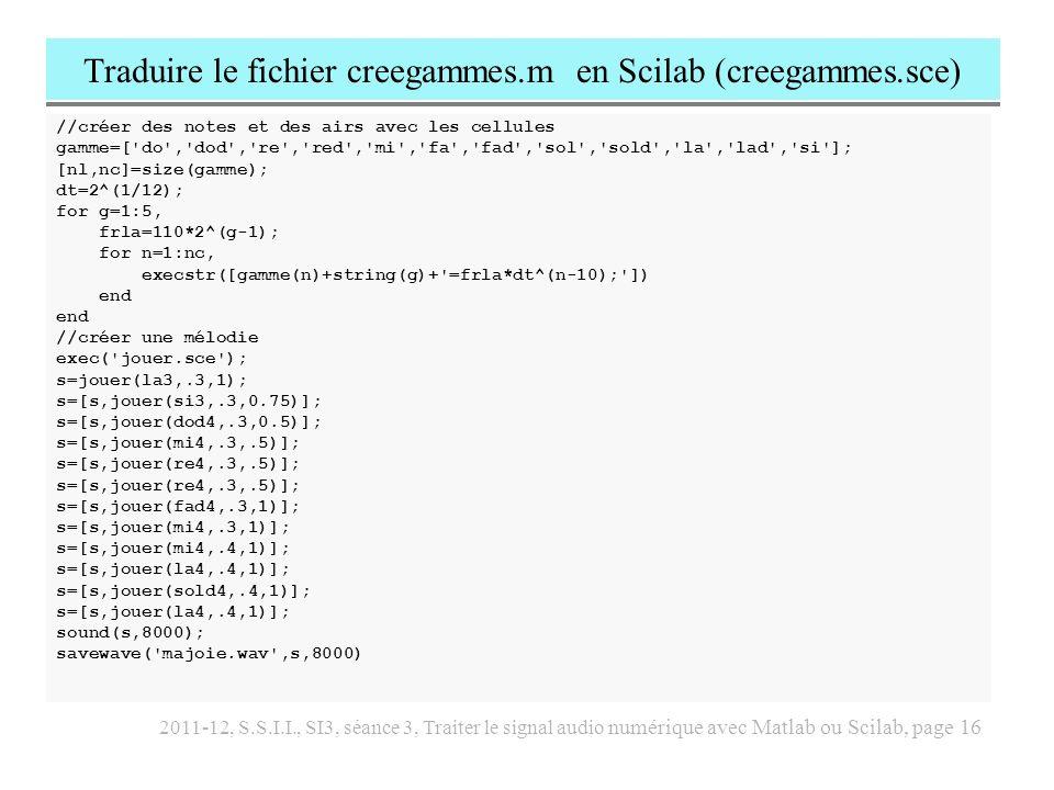 Traduire le fichier creegammes.m en Scilab (creegammes.sce)