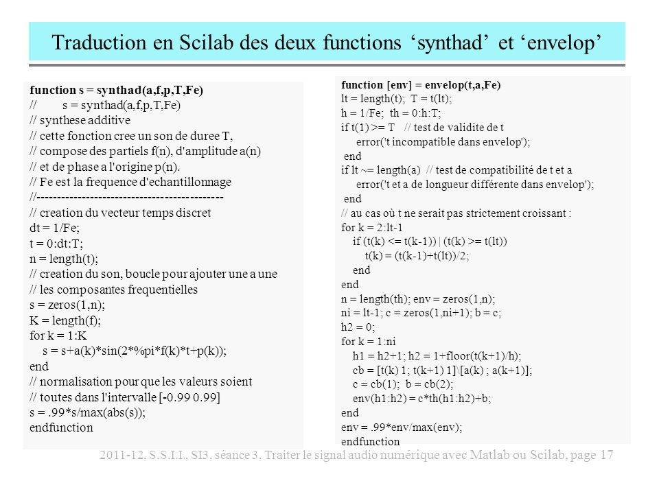 Traduction en Scilab des deux functions 'synthad' et 'envelop'