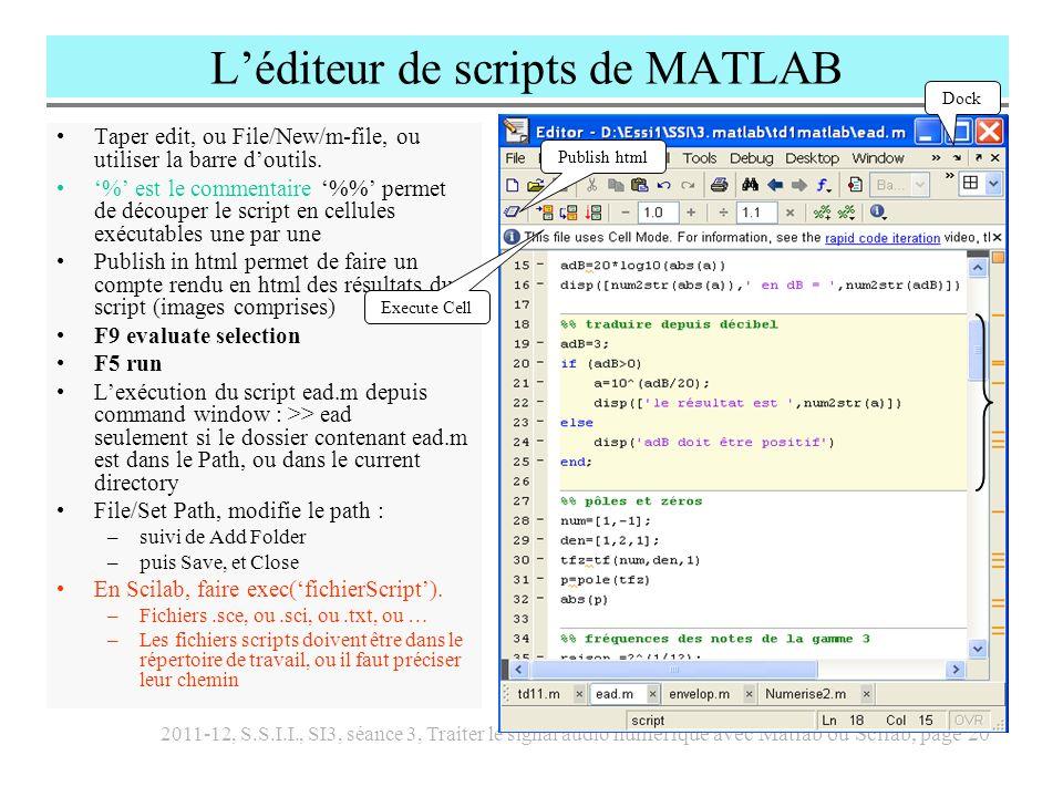 L'éditeur de scripts de MATLAB
